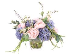 Peony Hydrangea (KF068): Peony Hydrangea, Pink Lavender Blue, Glass Cube, 20wx20dx19h