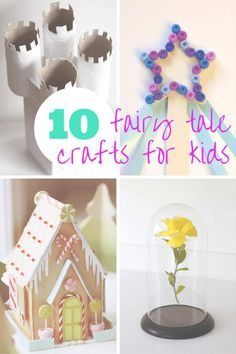 10 Fairy Tale Crafts for Kids: DIY fairy godmother wands, Handsel & Gretel house, cadrdboard tube castle, Beauty & the Beast flower cloche, frog prince, goldilocks & the 3 bears puppet show, big bad wolf tail & Cinderella mice!