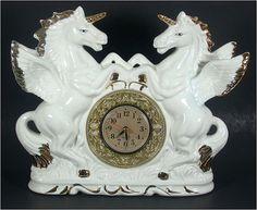 Unicorn Mantle Clock White Porcelain 70s on Etsy, ¥15,952.13