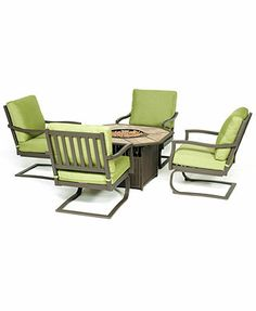 Madison Outdoor 5 Piece Seating Set and Fire Pit: 4 Club Dining Chairs and Fire Pit