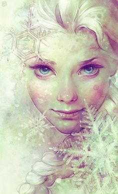 I love this fan art of Elsa because she looks so realistic! And she doesn't have overdone make up! :D
