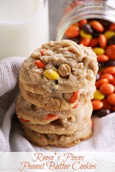 Reese's Pieces Peanut Butter Cookies ~ Perfectly soft, chewy and delicious! Loaded with peanut butter chips & Reese's Pieces! I want to shut from the rooftops that's how amazing these cookies are! ~ http://www.julieseatsandtreats.com