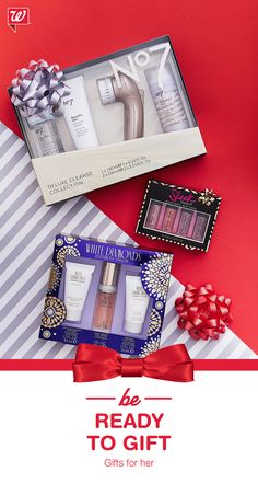 Impress the beauty-lover on your list with this season's hottest must-haves: No. 7 Deluxe Cleanse Collection, White Diamonds Fragrance Collection, and Sleek Mini Matte Me Set.