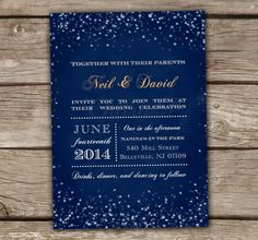 Starry Night Wedding Invitations With Luxe White Envelopes and gold liner available - Printed, Chalkboard, Starry lights, Engagement Party, Bridal Shower, Couples Shower, Royal Blue - chitrap.etsy.com