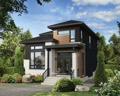 Two-storey house - New models - 21017 Contemporary House Plans, Contemporary Style Homes, Modern House Plans, Modern House Design, Two Storey House, Surface Habitable, Storey Homes, Sims House, Architectural Design House Plans