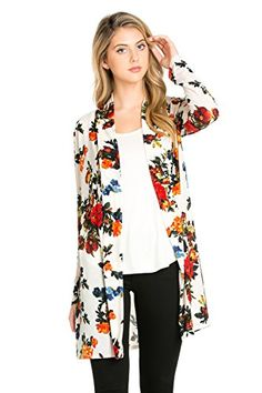 af6a4d443 Frumos Womens Sweater Open Front Long Sleeve Printed Cardigan Ivory  Cramberry Large  gt  gt