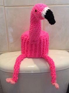 FLAMINGO hand crochet large toilet roll cover. in Home, Furniture & DIY, Bath, Toilet Roll Holders | eBay