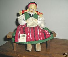 Weibull-Swedish-hand-crafted-knitting-Doll-Figurine-seated-on-bench