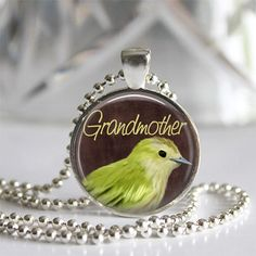 """Here is a Lovely gift for Grandmother on Mother's Day or as a special Birthday gift!   This is a beautiful handmade glass tile bezel pendant necklace made by me in my studio.  The glass tile is 1"""" and"""