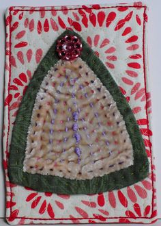Fabric Postcards 2015 tree by Kristin Shields #DIY #postcard