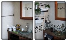"""Our First RV Mod - The Bathroom:  """"Smart Tiles"""" from Home Depot.  Wall organizers & towels from Ikea."""
