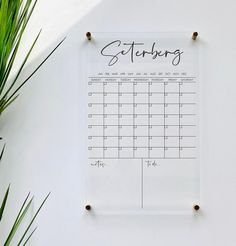 Personlized Acrylic Calendar For Wall 7 Week Design dry