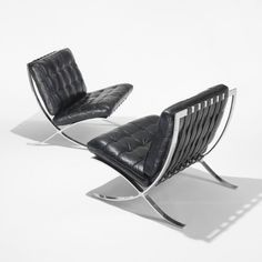 Mies van der Rohe, early pair of Barcelona chairs, Germany 1928/c. 1935, chrome-plated steel and leather.