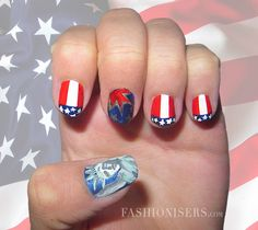 Fourth of July Nail Art Designs - Fashion Trends, Makeup Tutorials, Hairstyles and Style Secrets