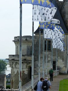 The Fleur de Lys and the Flag of Brittany in front of one of the old towers. Château d'Amboise, June 2014 A. Tyner Antiques