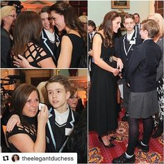 """#Repost @theelegantduchess with @repostapp ・・・ Whilst attending the Place2Be Wellbeing in Schools Awards at Mansion House in London in her role as patron of the charity, the UK's leading child mental health organisation, Kate comforted Ceri Knapton from Lancashire who was overcome with emotion as her son, Ethan, told HRH how he used his own battle with Autism and Asperger's Syndrome to raise awareness of the condition to benefit others.  Ethan's mum said: """"I vowed that I wouldn't cry but…"""