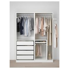 Discover the IKEA PAX wardrobe series. Design your own PAX wardrobe inside and out, from door styles, to shelves, to interior organizers and more. Pax Corner Wardrobe, Ikea Pax Wardrobe, White Wardrobe, Wardrobe Storage, Open Wardrobe, Ikea Wardrobe Design, Ikea Pax Closet, Wardrobe Wall, Ikea Bedroom