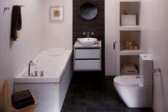 space saving ideas for small bathrooms, bathroom remodeling.     NARROW TUB