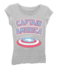 Heather Gray 'Captain America' Tee - Girls #zulily #zulilyfinds