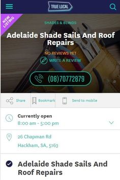 Adelaide Shade Sails and Roof Repairs are now on True Local! So why not give us a call and see how our local experts can help you with a shade sail for your pool, deck, patio or outdoor entertainment area.