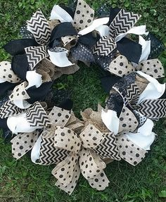 XXL Black Chevon and Polka Dot Burlap Wreath with Black and White Accents (can be customized to other colors)