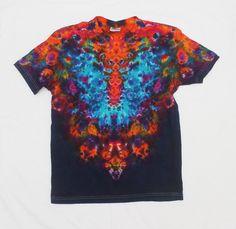 Tie Dye Mirrored Colorful Style Blue Butterfly  T-Shirt Symmetrical Psychedelic Shirt Size S by OtdelMaljaraTieDye on Etsy