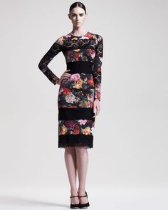 Lace-Inset Fitted Dress