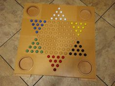 Rare Chinese Checkers Game COMPLETE Large Wooden Board Glass Marbles & Storage #SeeBottomofBoard