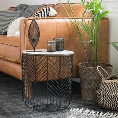 Tavolino da divano in fili di metallo nero | Maisons du Monde