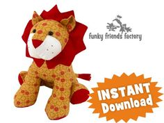 Going to make this with Rose's baby clothes.   Larry the Lion Soft Toy Sewing Pattern INSTANT DOWNLOAD
