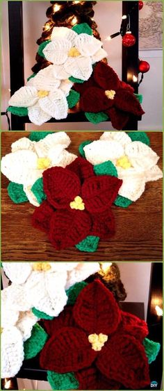 Crochet Poinsettia Christmas flower Free Pattern - Crochet Poinsettia Christmas Flower Free Patterns