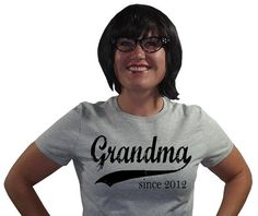 Grandparents Day - Personalized Grandma (any year) - Womens Fitted Tshirt - sizes sm, med, lg, xl - available in black, red, heather, white