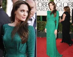 Emerald City! Angelina Jolie makes us green with envy in a sparkly column dress at the 2011 Golden Globe Awards.