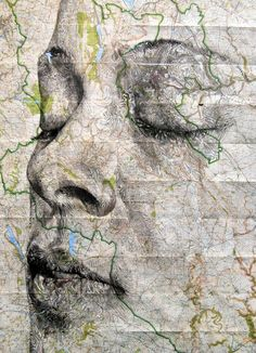 Ink and Pencil Portraits on Maps | Ed Fairburn