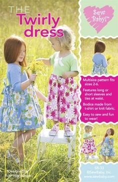 Sew Baby The Twirly Dress Pattern from @fabricdotcom  Multisize pattern fits 2 - 6 yrs. This dress is as fun as it is pretty. Designed with a 360° skirt for maximum twirling ability. Features include a ballet style knit bodice, long or short sleeves, and a sash. The skirt can be woven or knit.<br><a href=http://d2d00szk9na1qq.cloudfront.net/Images/PDF/SB-914.pdf>Click here for pattern back.</a>