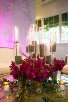 Gold glitter candle holders | Brooke Trexler Photography | see more on: http://burnettsboards.com/2014/10/event-recap-pink/ Flowers by Sweet Pea Flowers Denver, Planning and styling by Revel and Bloom. #weddings #events #centerpieces