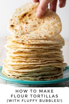 Easy Homemade Flour Tortilla Recipe: Learn How To Make Flour Tortillas that are ultra-light, flexible, and full of fluffy bubbles! Mexican Tortilla Recipe, Gorditas Recipe Mexican, Mexican Food Recipes, Mexican Bread, Dinner Recipes, How To Make Flour, How To Make Tortillas, Recipes With Flour Tortillas, Recipes