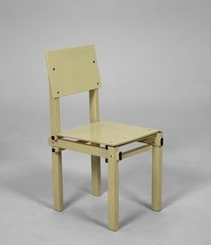 Gerrit Rietveld; Lacquered Wood 'Military 1' Chair by G.A. Van De Groenekan, 1950s