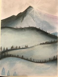 Mountains made with soft pastels and charcoal. First try ;)