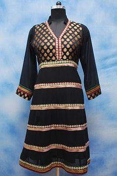 Black Formal Anarkali, Dazzling Anarkali shirt, Golden , black chanderi yoke, Sheered sleeves in full length, Zari border on V neckline hem and sleeves, Formal wear.