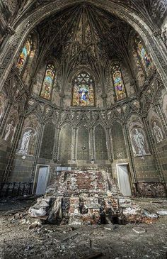 Abandoned church....amazing how once-beautiful places like this are just left to crumble.