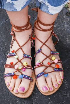Colorful Boho Embroidered Lace Up Flat Sandals Howell-S