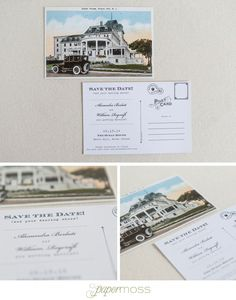 Vintage postcard Save the Date by Paper Moss | Ocean House wedding | Photos courtesy of Erin McGinn Photography