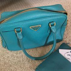Authentic Teal Prada Hand Bag