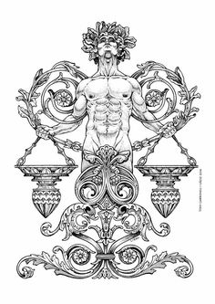Zodiac by Tony Carbonell Coloring Pages To Print, Colouring Pages, Coloring Books, Body Art Tattoos, Sleeve Tattoos, Cool Tattoos, Los Muertos Tattoo, Libra Tattoo, Zodiac Art