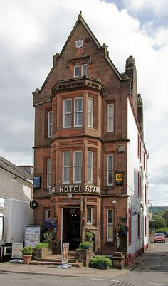 The Famous Star Hotel in Moffat, Scotland which dates from the late 1700's, found its fame for being the world's narrowest hotel as mentioned in the Guiness Book of Records. At only 20ft wide and 162ft long The Famous Star Hotel may be narrow but it has a BIG personality. Situated in the centre of Moffat a beautiful southern Scottish town near Dumfries and Galloway in the central belt of Scotland.