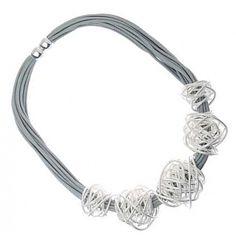 Fashion jewellery. RueB Multi-Cord Statement Necklace with silver Wire Knots