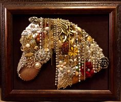 Beautiful Vintage Jewelry Framed Art Handmade Horse by UpCycledAssemblage on Etsy https://www.etsy.com/listing/263105509/beautiful-vintage-jewelry-framed-art