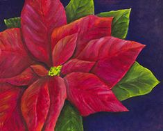 """""""Red Poinsettia""""  Poinsettias are a Christmas classic. There are many legends surrounding this holiday icon, but we love it for the graceful beauty of its petals and leaves. Your class will enjoy a break from the hustle and bustle of the holiday season by stopping to enjoy the relaxing atmosphere created when one picks up a paint brush. CANVAS SIZE:  16"""" x 20"""" TIME TO PAINT:  approximately 2 hours TECHNIQUES INCLUDE: blending image colors for effective shading; creating depth of image"""