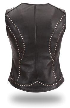 Women's Leather Vest Back